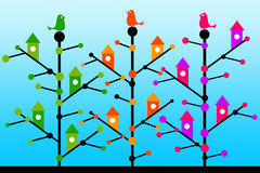Tree birds royalty free illustration