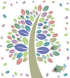 Tree and birds. Illustration of colorful tree and birds on a white background Stock Photo