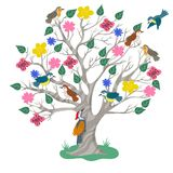 Tree and birds in doodle style isolated on white background. Vector graphics. Tree and birds in doodle style isolated on white background. Vector image vector illustration