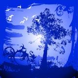 Tree, birds, flowers ornament Royalty Free Stock Image