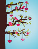 Tree with birds and hearts Royalty Free Stock Image