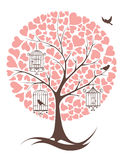 Tree with birds and hearts Stock Image