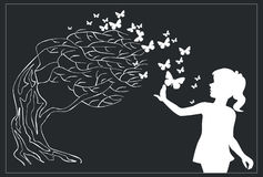 Tree black 03. Vector. Tree with butterfly and girl in black 0 3 royalty free illustration