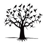 Tree and Black Birds. Royalty Free Stock Photos