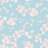 Tree in blossom seamless pattern. In pink and blue Stock Image
