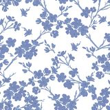 Tree in blossom seamless pattern. In blue Royalty Free Stock Photos
