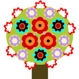 Tree in Blossom. An unusual colourful tree full of flowers stock illustration