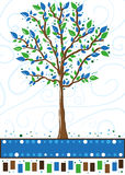 Tree in blue and green - greeting card Royalty Free Stock Photo