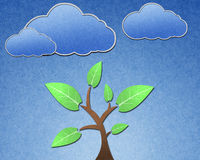 Tree and blue sky. Recycled paper craft stick Royalty Free Illustration