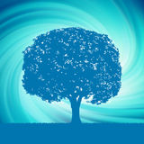 Tree with blue twirl for your design. EPS 8 Royalty Free Stock Photo