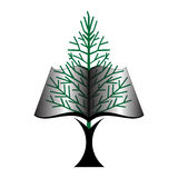 Tree Book icon. Book with tree trunk  and  leaves green page Royalty Free Stock Photography