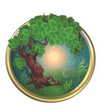 Tree in Border. Illustration of Green Tree with Grass in Round Border, can be use as sign or icon Stock Image