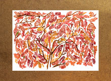 Tree bouquet pressed leaves collected and pasted on paper  paint Royalty Free Stock Photo