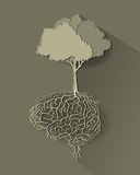 Tree with brain root, vector. Style paper cut Royalty Free Stock Images