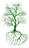 Tree with brain roots. A tree growing from roots shaped like a human brain vector illustration