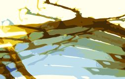 Tree Branch. Illustration, Abstract representation of warm sunny day, sunset, or the green of spring. Made and designed from scratch Stock Photo