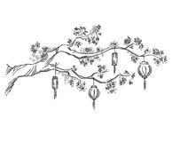 Tree branch with Chinese lanterns Stock Images
