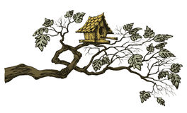 Tree branch. And a cute bird house, page border or ornament Royalty Free Stock Image
