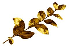 Tree branch with golden leaves on white background isolated closeup, decorative gold color plant sprig, yellow shiny metal twig