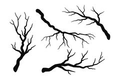 Tree branch without leaves silhouettes set isolated on white. Bare branches vector illustration royalty free illustration