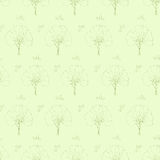 Tree branch pattern green leaves vector seamless Royalty Free Stock Photos