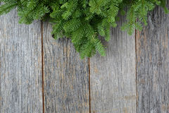 Tree branch on rustic wooden background used for christmas decor Stock Image