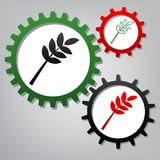 Tree branch sign. Vector. Three connected gears with icons at gr stock illustration