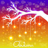 Tree branch with stars and hearts. Vector illustration with doodle tree and boken background Stock Photography