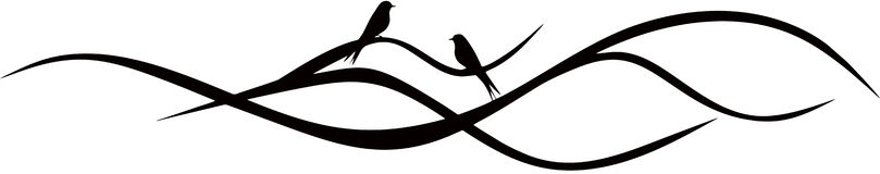Tree Branch. With two birds vector illustration