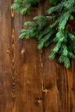 Tree branch on a wooden background Stock Photography