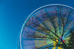 Tree Branches Against Backdrop Of Bright Spinning Ferris Wheel At Spring Evening Or Night. Motion Blurred Effect Around. Silhouette Of Tree Branches Against stock image