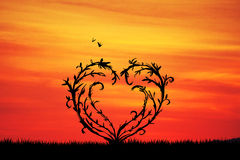 Tree with branches in the shape of heart Royalty Free Stock Images