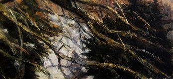 Tree branches and twigs, detailed painted background wallpaper Royalty Free Stock Image