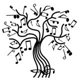 Musical tree vector. A tree on the branches of which notes Royalty Free Stock Photos
