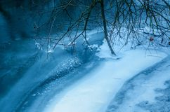 Tree brancy frozen into a river. Icy curvy winter river flowing between old snow covered tree branches stock image