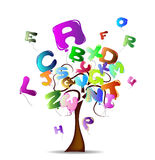 Tree with bright balloons in the shape of letters