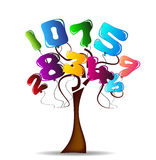 Tree with bright balloons in the shape of numbers. 1 to 10 royalty free illustration