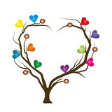 Tree with bright hearts. Naturalistic illustration of love, passion Stock Photos