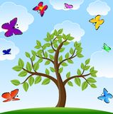 Tree and bright varicoloured butterflies Royalty Free Stock Photos