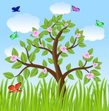 Tree and bright varicoloured butterflies Stock Photography