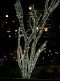 Brightly lit tree on the night of Christmas Eve. A tree brightly lit with led lights in a neighbourhood in Bangalore on the night of Christmas eve Stock Image