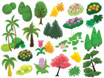 Tree, Bush and Flower Garden Vector Icon Illustration. For any purpose such as logo, cover and illustration book, game, website, social media, blog, stationary stock illustration