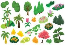 Tree Bush Flower Garden Vector Icons and Illustration. For many purpose such as print on wallpaper, sticker, canvas, stationery, game icon and social media stock illustration
