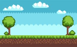 Tree Bush Pixel Style Vector Illustration Landscape. Tree and bush pixel style vector illustration landscape with sky grass and ground. Green plants for 2D game Royalty Free Stock Images