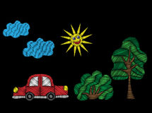 Tree and bush with red car and sun embroidery stitches imitation Stock Photography