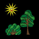 Tree and bush with sun embroidery stitches imitation Stock Photo