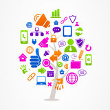 Tree with business and internet icons Royalty Free Stock Images