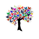 Tree with butterflies Stock Image