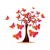 Tree with butterflies formed by hearts Stock Photos