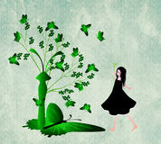Tree and butterfly. Tree with butterflies and beautiful girl royalty free illustration